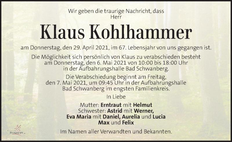 Traueranzeige für Klaus Kohlhammer vom 01.05.2021 aus Kleine Zeitung