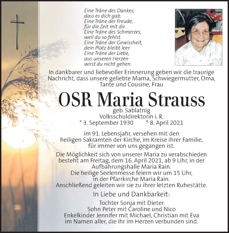 Traueranzeige für Maria Strauss vom 13.04.2021 aus Kleine Zeitung