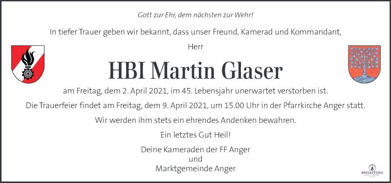 Traueranzeige für Martin Glaser vom 08.04.2021 aus Kleine Zeitung
