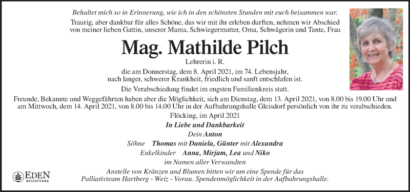 Traueranzeige für Mathilde Pilch vom 11.04.2021 aus Kleine Zeitung