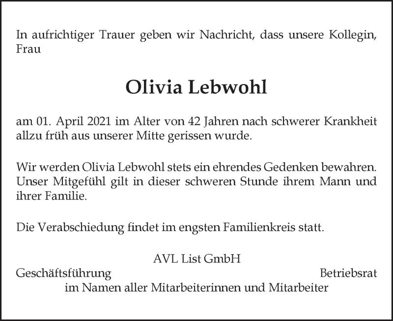 Traueranzeige für Olivia Lebwohl vom 11.04.2021 aus Kleine Zeitung