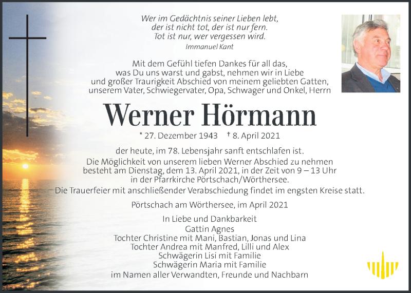 Traueranzeige für Werner Hörmann vom 11.04.2021 aus Kleine Zeitung