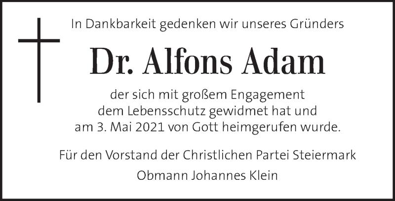 Traueranzeige für Alfons Adam vom 08.05.2021 aus Kleine Zeitung