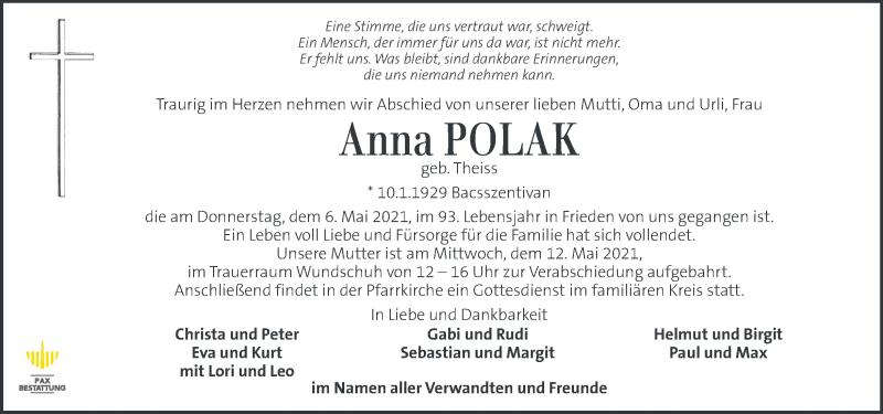 Traueranzeige für Anna Polak vom 09.05.2021 aus Kleine Zeitung