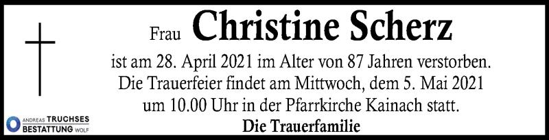 Traueranzeige für Christine Scherz vom 04.05.2021 aus Kleine Zeitung