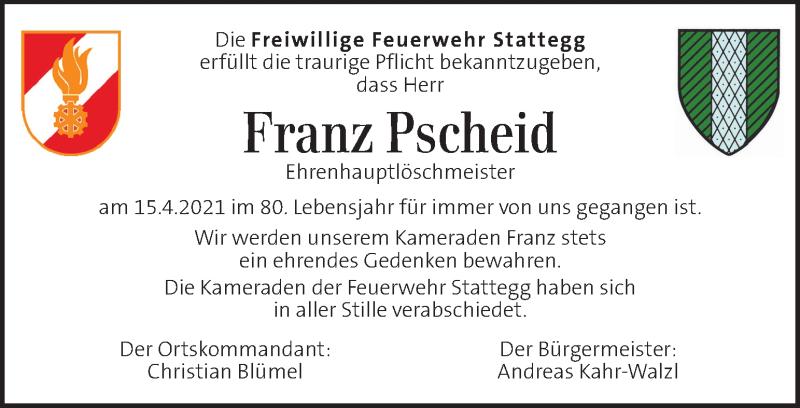 Traueranzeige für Franz Pscheid vom 07.05.2021 aus Kleine Zeitung