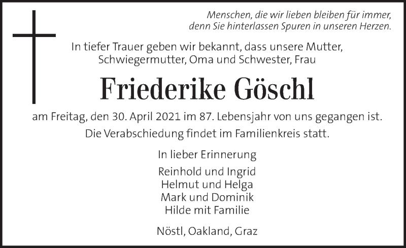 Traueranzeige für Friederike Göschl vom 04.05.2021 aus Kleine Zeitung