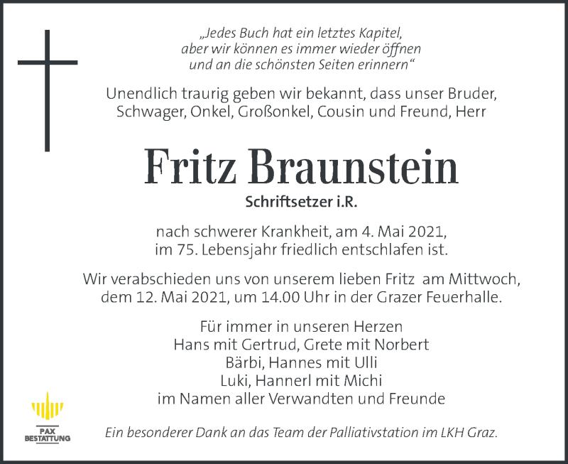 Traueranzeige für Fritz Braunstein vom 07.05.2021 aus Kleine Zeitung