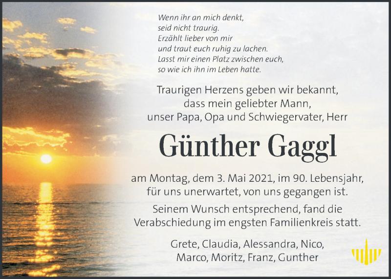 Traueranzeige für Günther Gaggl vom 09.05.2021 aus Kleine Zeitung