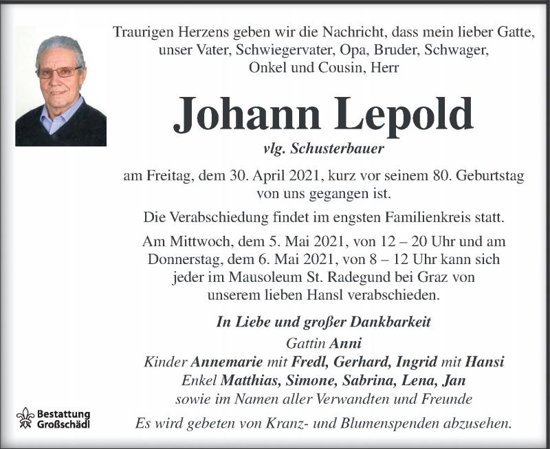 Traueranzeige für Johann Leopold vom 04.05.2021 aus Kleine Zeitung
