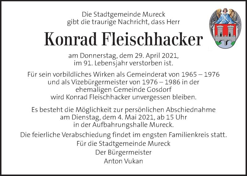 Traueranzeige für Konrad Fleischhacker vom 04.05.2021 aus Kleine Zeitung