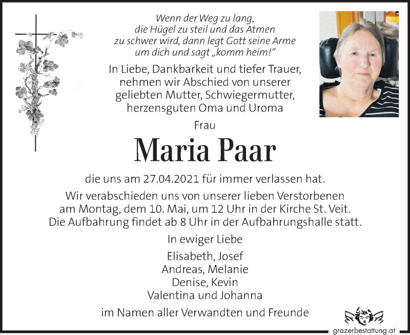 Traueranzeige für Maria Paar vom 06.05.2021 aus Kleine Zeitung