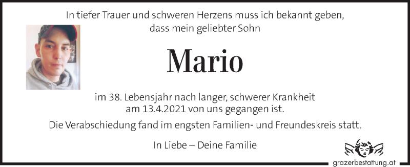 Traueranzeige für Mario  vom 06.05.2021 aus Kleine Zeitung