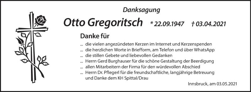 Traueranzeige für Otto Gregoritsch vom 07.05.2021 aus Kleine Zeitung