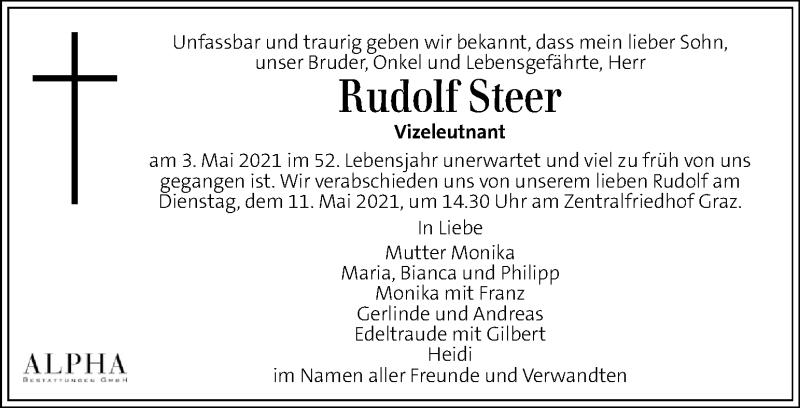 Traueranzeige für Rudolf Steer vom 09.05.2021 aus Kleine Zeitung