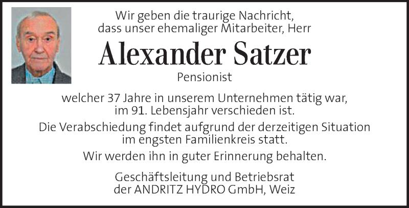 Anzeige von  Alexander Satzer