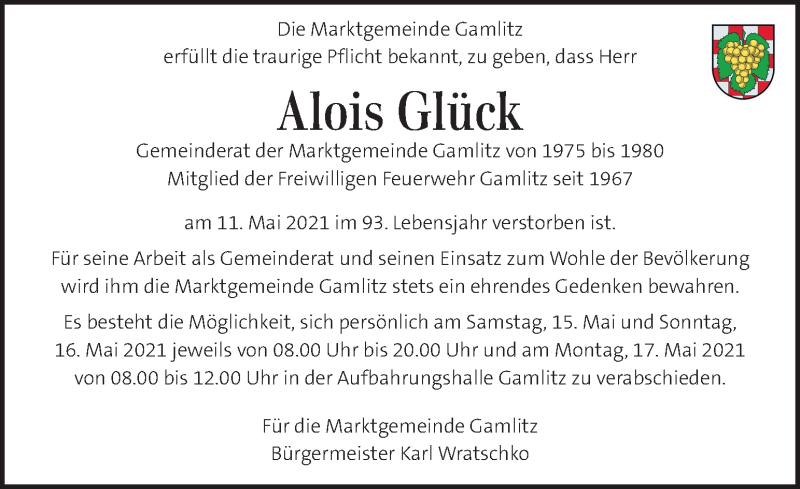Traueranzeige für Alois Glück vom 15.05.2021 aus Kleine Zeitung
