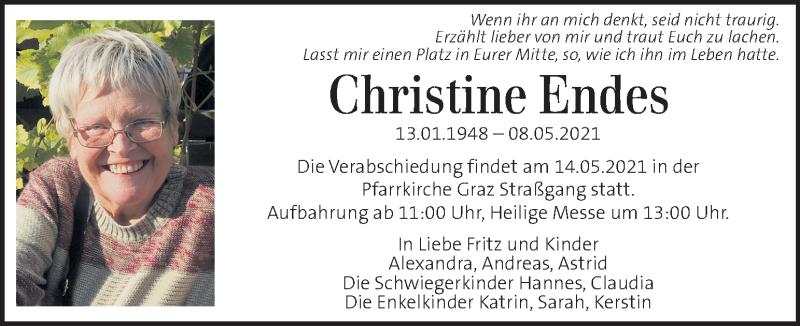 Anzeige von  Christine Endes