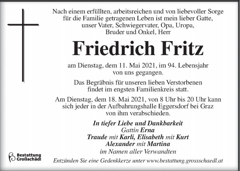 Traueranzeige für Friedrich Fritz vom 15.05.2021 aus Kleine Zeitung