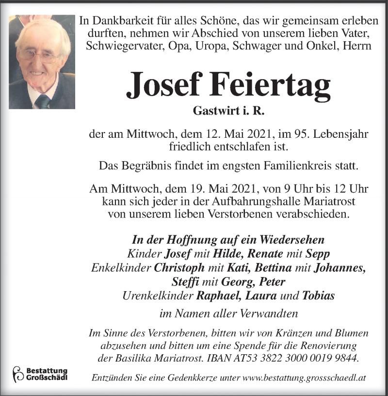 Traueranzeige für Josef Feiertag vom 16.05.2021 aus Kleine Zeitung