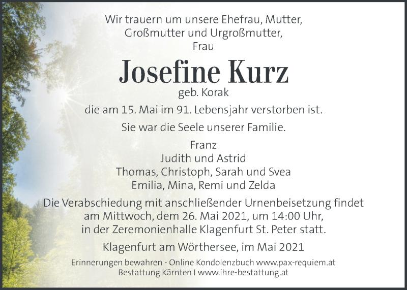 Traueranzeige für Josefine Kurz vom 22.05.2021 aus Kleine Zeitung