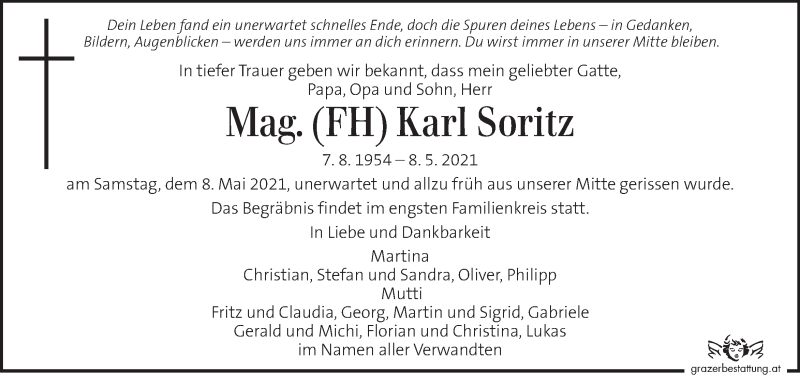 Traueranzeige für Karl Soritz vom 15.05.2021 aus Kleine Zeitung