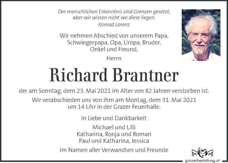 Traueranzeige für Richard Brantner vom 28.05.2021 aus Kleine Zeitung