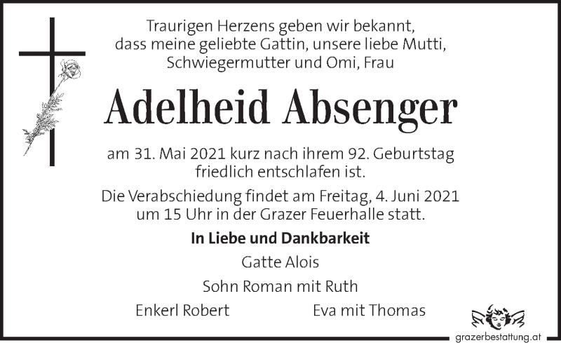 Traueranzeige für Adelheid Absenger vom 02.06.2021 aus Kleine Zeitung