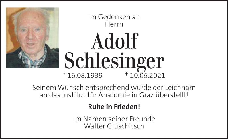 Traueranzeige für Adolf Schlesinger  vom 12.06.2021 aus Kleine Zeitung