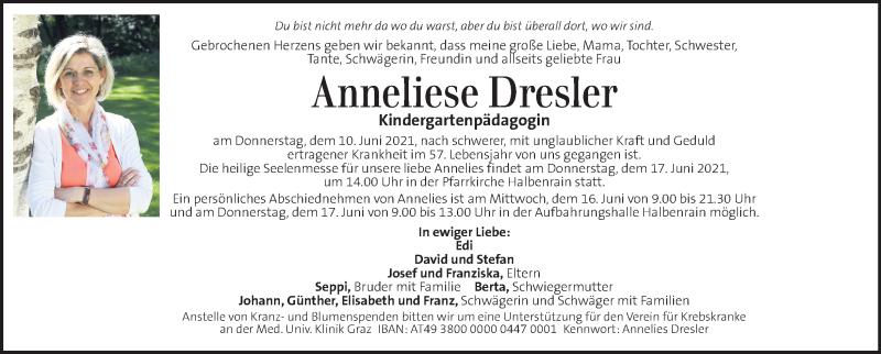 Traueranzeige für Anneliese Dresler vom 16.06.2021 aus Kleine Zeitung