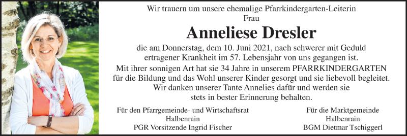 Traueranzeige für Anneliese Dresler vom 17.06.2021 aus Kleine Zeitung