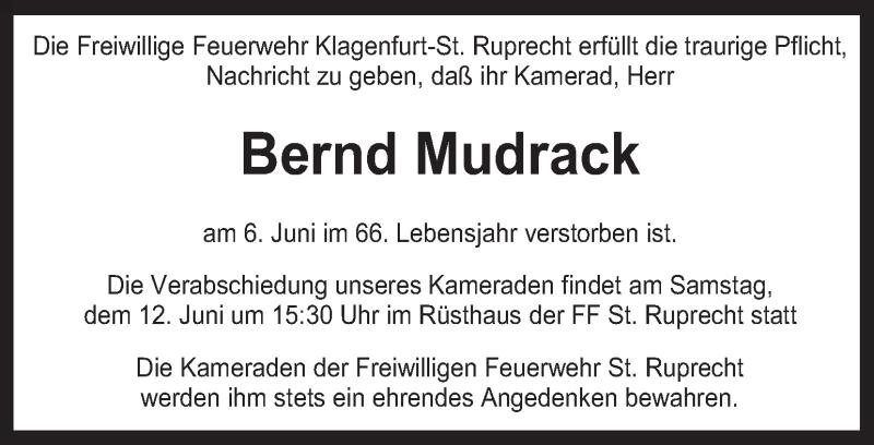 Traueranzeige für Bernd Mudrack vom 11.06.2021 aus Kleine Zeitung