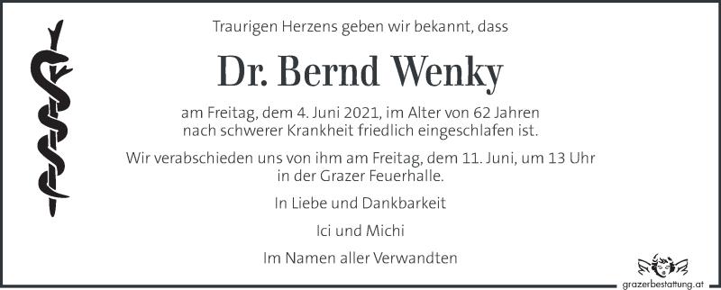 Traueranzeige für Bernd Wenky vom 09.06.2021 aus Kleine Zeitung