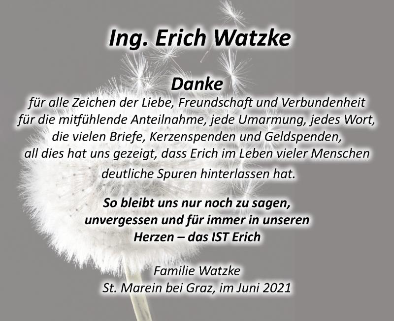 Traueranzeige für Erich Watzke vom 11.06.2021 aus Kleine Zeitung