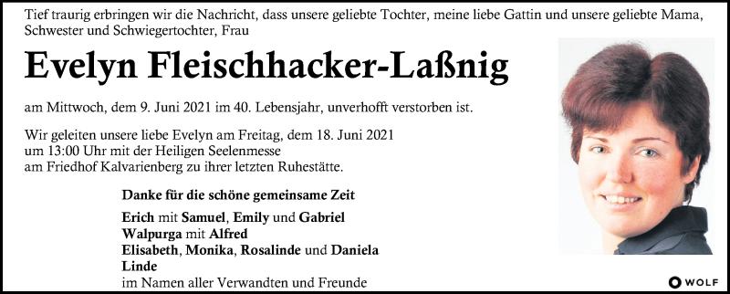 Traueranzeige für Evelyn Fleischhacker-Laßnig vom 13.06.2021 aus Kleine Zeitung