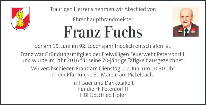 Traueranzeige für Franz Fuchs vom 22.06.2021 aus Kleine Zeitung