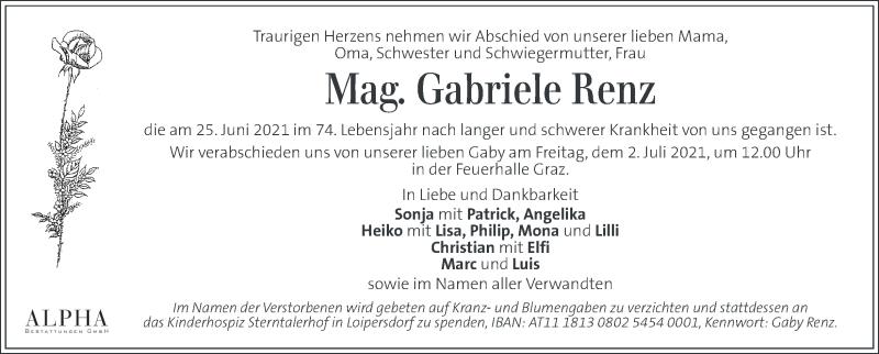 Traueranzeige für Gabriele Renz vom 29.06.2021 aus Kleine Zeitung