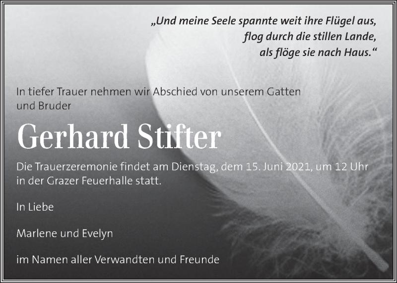 Traueranzeige für Gerhard Stifter vom 12.06.2021 aus Kleine Zeitung
