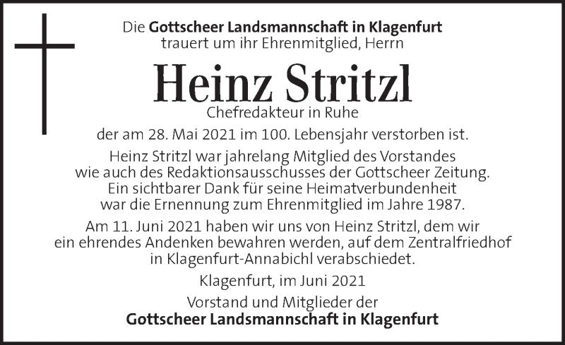 Traueranzeige für Heinz Stritzl  vom 12.06.2021 aus Kleine Zeitung