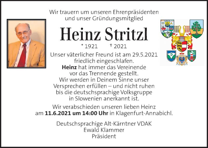 Traueranzeige für Heinz Stritzl vom 10.06.2021 aus Kleine Zeitung
