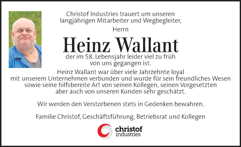 Traueranzeige für Heinz Wallant  vom 12.06.2021 aus Kleine Zeitung