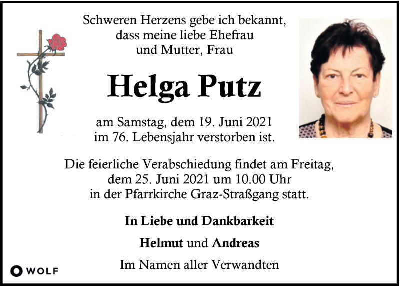 Traueranzeige für Helga Putz vom 23.06.2021 aus Kleine Zeitung
