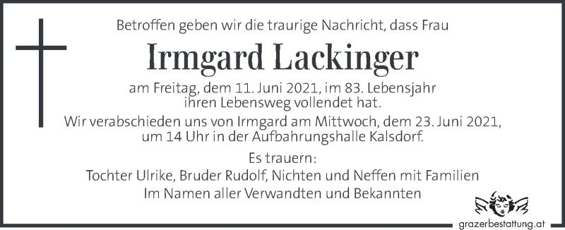 Traueranzeige für Irmgard Lackinger vom 20.06.2021 aus Kleine Zeitung