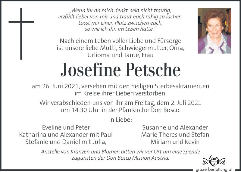 Traueranzeige für Josefine Petsche vom 30.06.2021 aus Kleine Zeitung