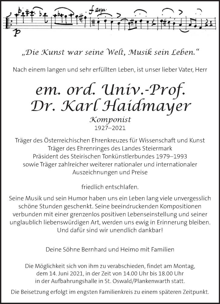 Traueranzeige für Karl Haidmayer vom 10.06.2021 aus Kleine Zeitung