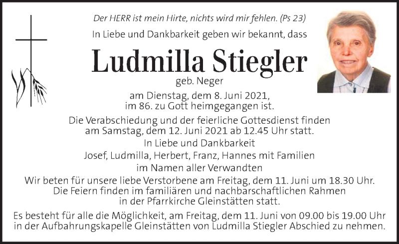 Traueranzeige für Ludmilla Stiegler vom 11.06.2021 aus Kleine Zeitung