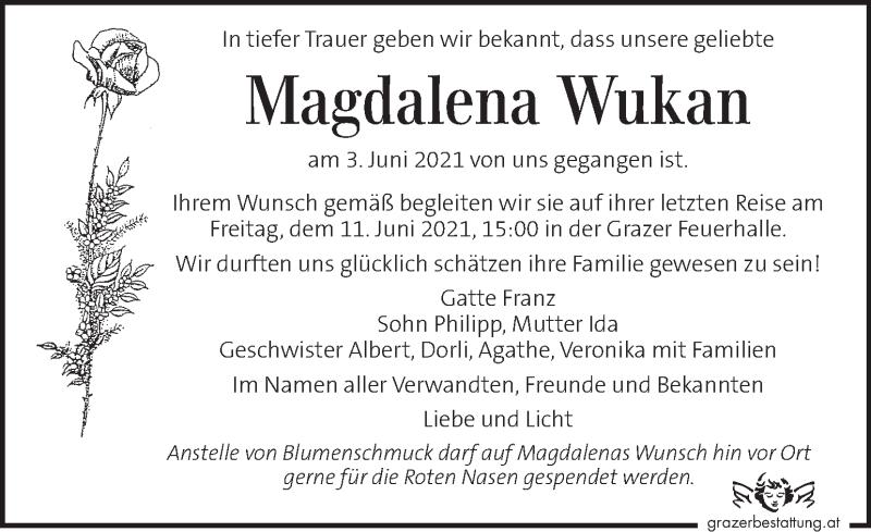 Traueranzeige für Magdalena Wukan vom 08.06.2021 aus Kleine Zeitung