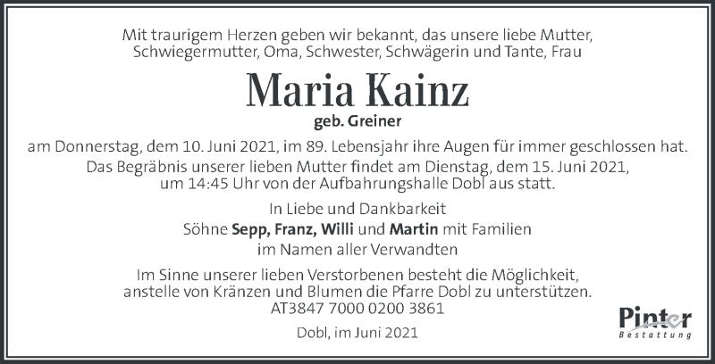 Traueranzeige für Maria Kainz vom 15.06.2021 aus Kleine Zeitung