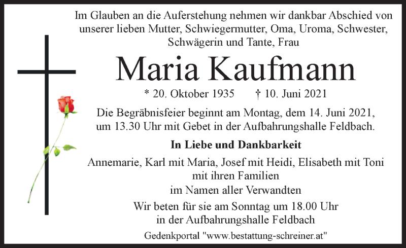 Traueranzeige für Maria Kaufmann  vom 12.06.2021 aus Kleine Zeitung