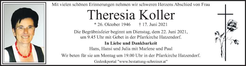 Traueranzeige für Theresia Koller vom 20.06.2021 aus Kleine Zeitung